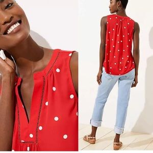 ANN TAYLOR Loft Red Polka Dot Shell Sleeveless Top